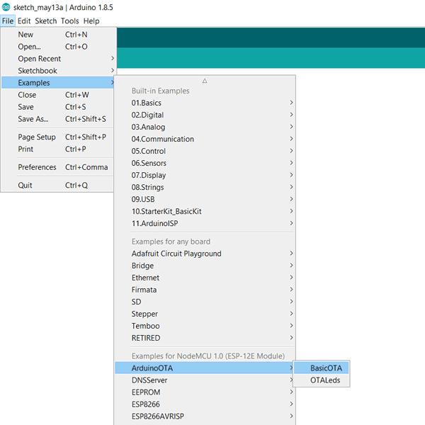 Mở Example BasicOTA trên Arduino IDE