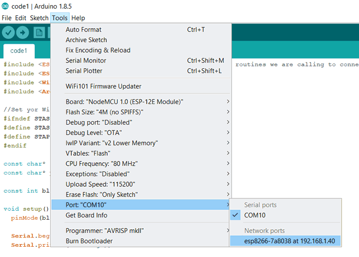 Chọn IP để nạp code