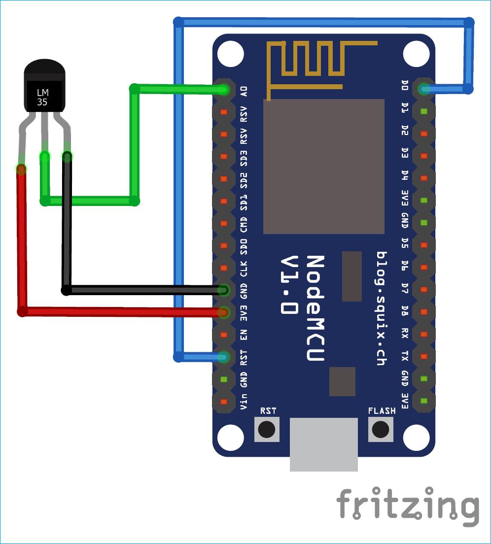 Kết nối LM35 với Esp8266