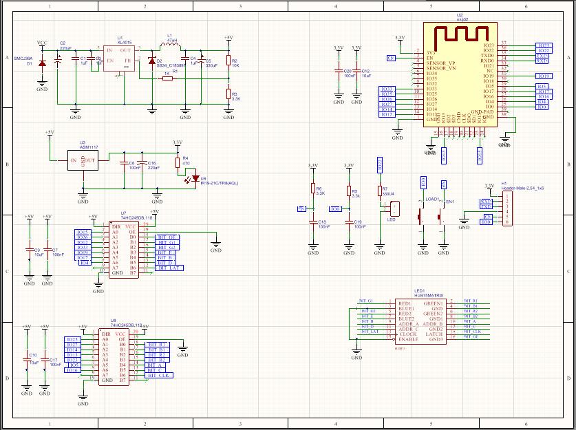 Sơ đồ mạch ESP32 dùng để quét led ma trận