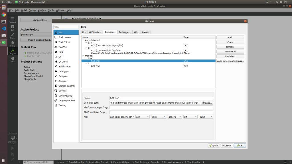 QtCreator select G++