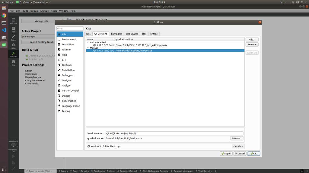 QtCreator select QMake